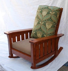 Gustav Stickley Inspired Large Slant Arm Reclining Morris Rocker