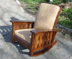 Gustav Stickley Inspired Medium Size Slant Arm Reclining Morris Rocker with Slats and Fabric Cushion