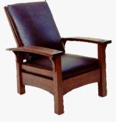 Gustav Stickley Replica Early Period Bow Arm Reclining Morris Chair
