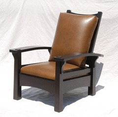 Replica Gustav Stickley Early Version Reverse Tapered Leg Clip-Corner Bow Arm Morris Chair