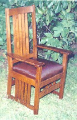 L. & J. G. Stickley Style Slatted Arm Chair