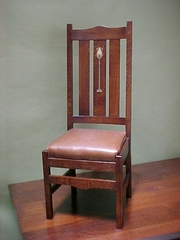 Gustav Stickley-Harvey Ellis Inspired High Back Inlaid Dining Chair.