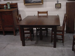 Vintage L. & J. G. Stickley 5-leg Square Dining Table.