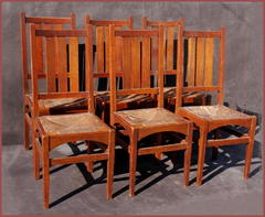 Set of six original Gustav Stickley  dining chairs, model #353