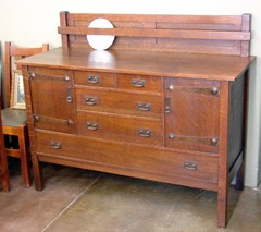 Vintage L. & J.G. Stickley Buffet Sideboard with Plate Rail and Strap Hinges.