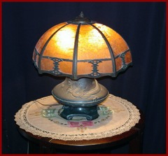 Arts and Crafts Vintage Mica Table Lamp with Dragon Base.  Lillian Palmer Style