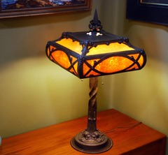 Large Quality Arts and Crafts Hammered Bronze and Slag Glass lamp.