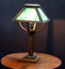 Arts & Crafts Mission Oak Slag Glass Lamp Stickley era Circa 1908