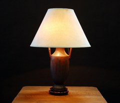 Arts & Crafts Mission Oak Van Briggle Pottery  Lamp.