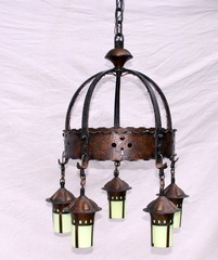 Rare Stickley era Onondaga 5 light chandelier