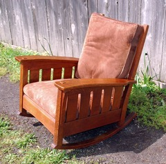 Large L. & J. G. Stickley Bow Arm Rocker with slats.