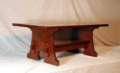 Custom solid Oak Moushole or Keyhole Coffee table with keyed thru tenons and lower shelf.