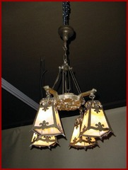 Vintage Arts and Crafts Chandelier with four amber shades