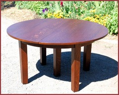 Original Gustav Stickley 5 Leg Dining Table with 4 Leaves