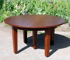 Gustav Stickley 54 inch Oak Dining Table with 6 Original Leaves, Signed