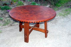 Accurate replica Gustav Stickley splay leg table with leather top.
