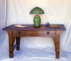 Gustav Stickley Early Gustav Stickley 1901 Large Leather Top Library Table accurate replica