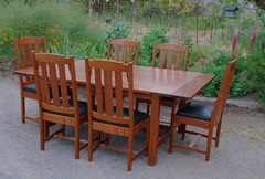 Greene & Greene style custom dining table & chairs.