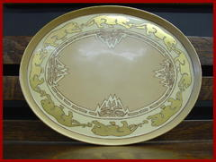 Arts and Crafts Design Hand Painted Oval Tray, T&V Limoges, France.   Gold Feliform Design along Bor
