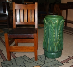 ROOKWOOD FAIENCE MATTE GREEN UMBRELLA STAND 1903
