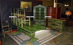Rare Monterey Dining Set Including Corner Cupboard in Classic Green color & flowers