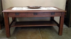 Gustav Stickley 3 drawer library table