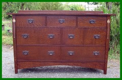 Oak Inaid 7-Drawer Custom Dresser Gustav Stickley Harvey Ellis Inspired