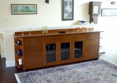 Custom 9 Foot Long Arts & Crafts Liquor Cabinet Sideboard
