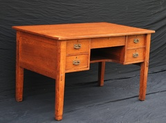 Vintage L & J G Stickley 5 drawer paneled desk with thru tenons original hammered copper hardware and splined top