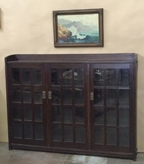 Rare Gustav Stickley Early triple door mitered mullion bookcase, original finish, signed. 1902-1903