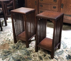 Rare pair Arts & Crafts  stands with spindles and reverse tapered legs. Stickley era