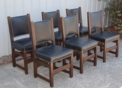 Extremely Rare Gustav Stickley early dining chairs, set of six. Tacked seats and backs.