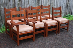 Original Vintage L & J G Stickley Set of Eight Dining Chairs