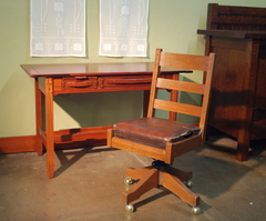Office Desk Chair  L & J G Stickley Gustav Stickley cojoined signature.  Original finish and leather.