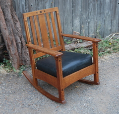 Original Charles Limbert Ebon-Oak Inlaid rocker.  Double Signed.  Excellent condition.