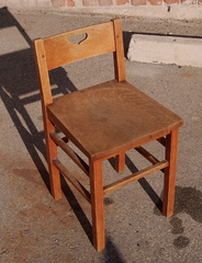 Stickley Brothers small desk chair with heart cutout.  Signed.  Cleaned original finish.