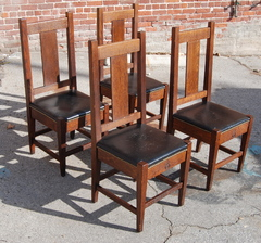 Four Roycroft Side Chairs. Signed. Stickley era.