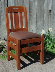 Stickley Brothers ucommon side or desk chair with cutout design in the crest rail. Double signed.