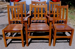 Set of 6 Stickley Brothers Dining Chairs including two arm chairs, signed.