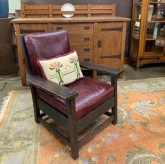 Early Gustav Stickley Arm Chair in Dark Original Finish, signed red decal 1904-1906