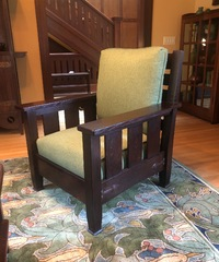 Custom English Arts and Crafts Style Arm Chair with Hammered Copper Straps