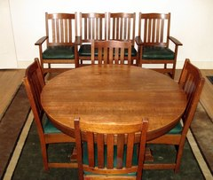 Vintage L. & J. G. Stickley 48 inch pedestal dining table & 4 original leaves.