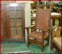 Rare Uncatalogued Gustav Stickley Tall Arm Chair.