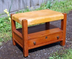 Charles Limbert Footstool with shelf & dovetailed drawer.