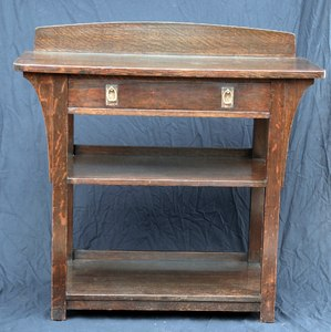Charles Limbert Oak Server signed in drawer, Stickley era.