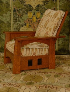 Voorhees Craftsman Custom Limbert Inspired Morris Chair with cut-out design