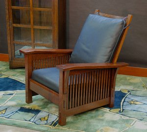 Medium Size  Version Gustav Stickley Replica Slant Arm Spindle Reclining Morris Chair