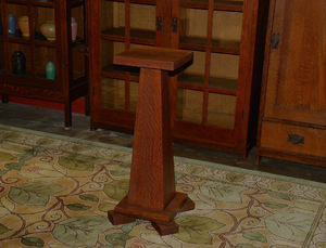 Oakcraft Furniture Co pedestal plant stand, splined joinery, signed.