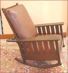 Replica Slatted Reclining Morris Rocker From An Antique L. & J. G. Stickley Rocker