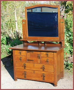 Antique Arts and Crafts Period  Dresser with mirror and strap hardware